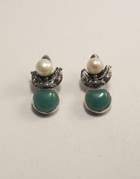 сребърни обеце с авантюрин и перли